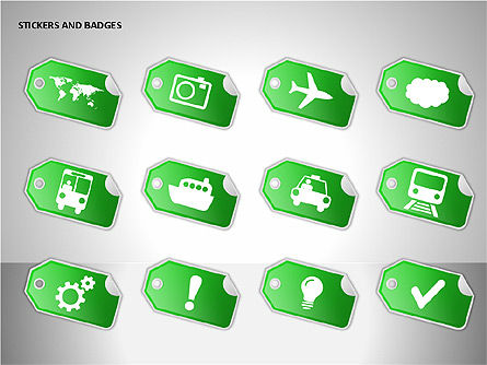 Stickers and Badges Icons, Slide 11, 00099, Icons — PoweredTemplate.com