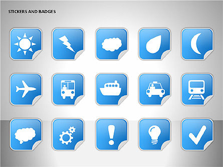 Stickers and Badges Icons, Slide 8, 00099, Icons — PoweredTemplate.com