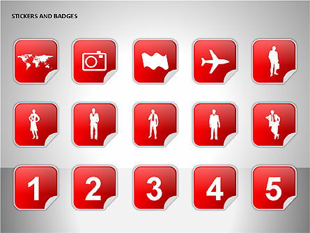 Stickers and Badges Icons, Slide 9, 00099, Icons — PoweredTemplate.com