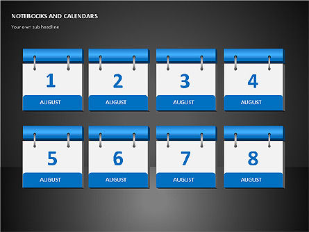 Notebooks and Calendar, Slide 10, 00101, Timelines & Calendars — PoweredTemplate.com