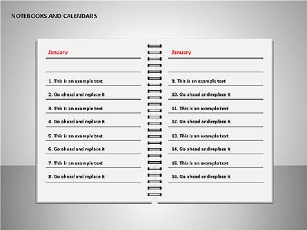 Notebooks and Calendar, Slide 12, 00101, Timelines & Calendars — PoweredTemplate.com