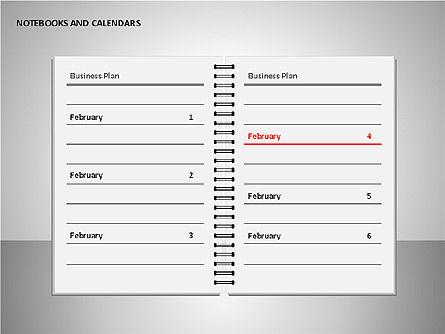 Notebooks and Calendar, Slide 13, 00101, Timelines & Calendars — PoweredTemplate.com