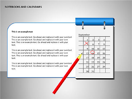 Notebooks and Calendar, Slide 3, 00101, Timelines & Calendars — PoweredTemplate.com