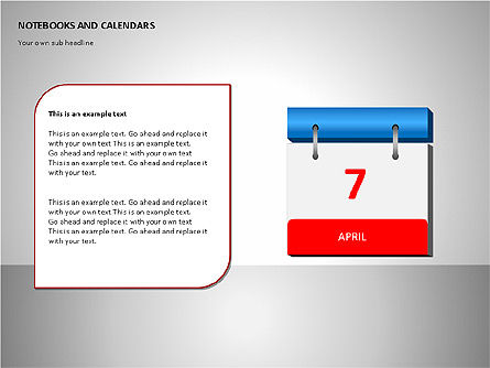 Notebooks and Calendar, Slide 4, 00101, Timelines & Calendars — PoweredTemplate.com