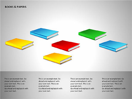 Books and Paper, Slide 10, 00102, Shapes — PoweredTemplate.com