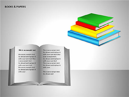 Books and Paper, Slide 6, 00102, Shapes — PoweredTemplate.com