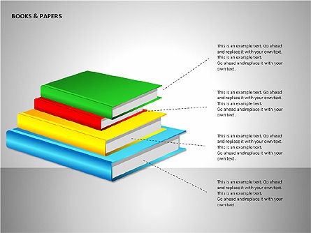 Books and Paper, Slide 9, 00102, Shapes — PoweredTemplate.com