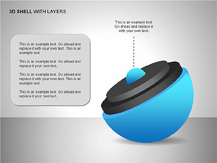 3D Shell Model, Slide 12, 00104, Pie Charts — PoweredTemplate.com