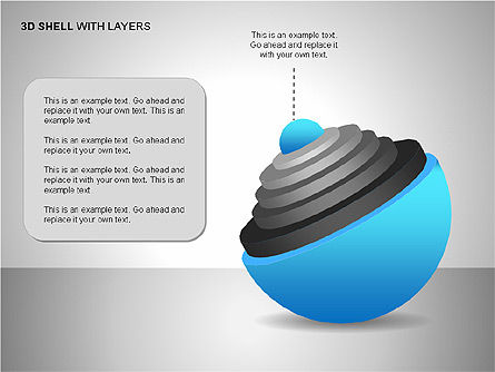 3D Shell Model, Slide 15, 00104, Pie Charts — PoweredTemplate.com