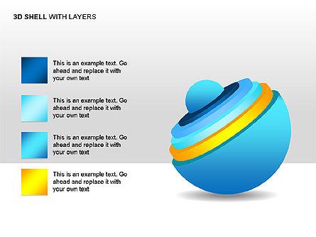 3D Shell Model, Slide 2, 00104, Pie Charts — PoweredTemplate.com