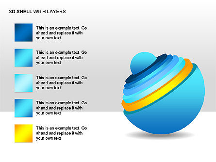 3D Shell Model, Slide 3, 00104, Pie Charts — PoweredTemplate.com