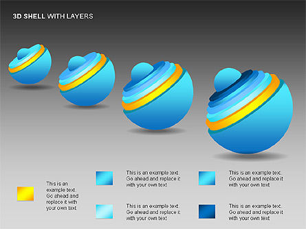 3D Shell Model, Slide 4, 00104, Pie Charts — PoweredTemplate.com