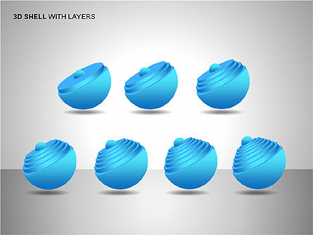 3D Shell Model, Slide 7, 00104, Pie Charts — PoweredTemplate.com