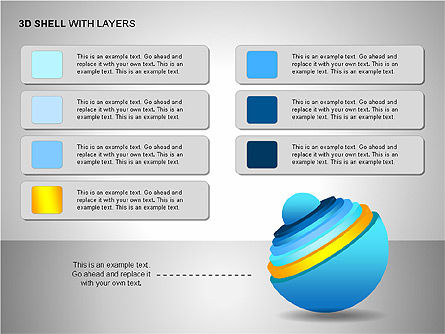 3D Shell Model, Slide 8, 00104, Pie Charts — PoweredTemplate.com