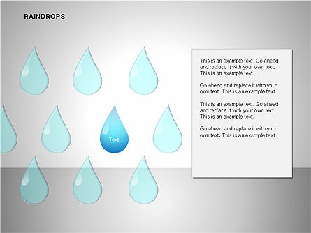 Raindrops Diagrams, Slide 4, 00112, Shapes — PoweredTemplate.com