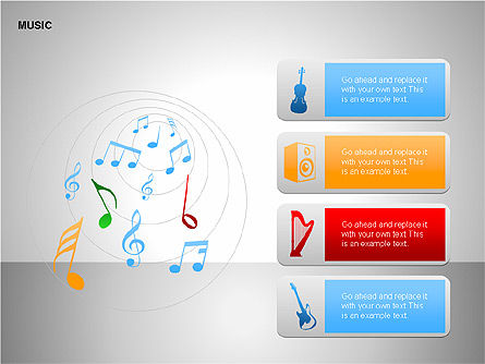 Music Shapes, Slide 3, 00129, Icons — PoweredTemplate.com