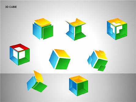 3D Cubes Collection, Slide 10, 00133, Shapes — PoweredTemplate.com