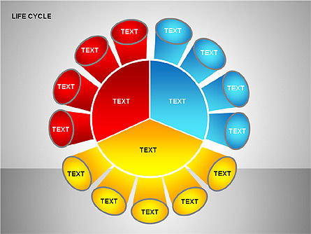 Life Cycle Diagram, Slide 14, 00157, Pie Charts — PoweredTemplate.com