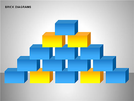 Brick Diagrams Collection, Slide 7, 00166, Shapes — PoweredTemplate.com