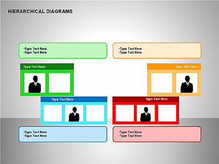 Hierarchical Diagrams, Slide 12, 00167, Organizational Charts — PoweredTemplate.com