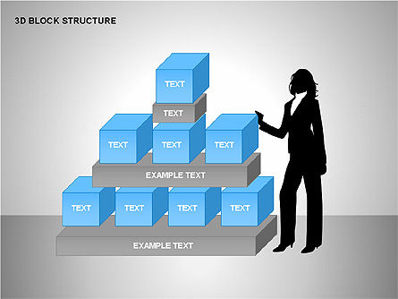 3D Blocks Organizational Charts, Slide 11, 00170, Organizational Charts — PoweredTemplate.com