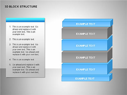 3D Blocks Organizational Charts, Slide 12, 00170, Organizational Charts — PoweredTemplate.com