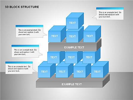 3D Blocks Organizational Charts, Slide 13, 00170, Organizational Charts — PoweredTemplate.com