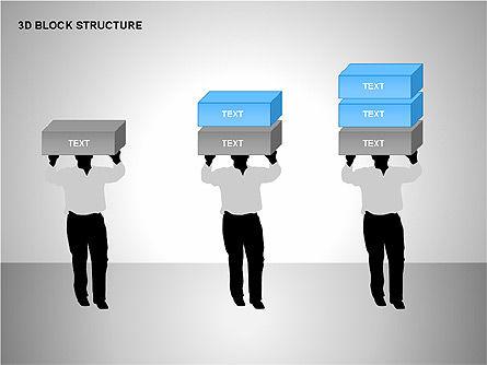 3D Blocks Organizational Charts, Slide 14, 00170, Organizational Charts — PoweredTemplate.com