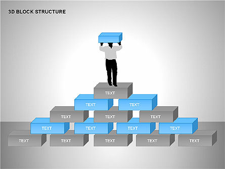 3D Blocks Organizational Charts, Slide 6, 00170, Organizational Charts — PoweredTemplate.com