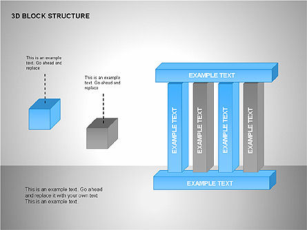 3D Blocks Organizational Charts, Slide 8, 00170, Organizational Charts — PoweredTemplate.com