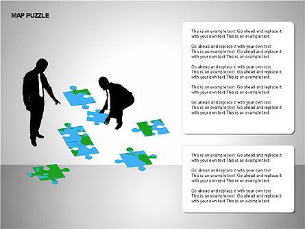 Map Puzzle Shapes, Slide 14, 00171, Puzzle Diagrams — PoweredTemplate.com