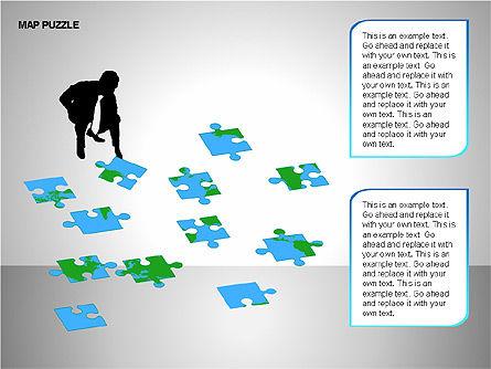 Map Puzzle Shapes, Slide 3, 00171, Puzzle Diagrams — PoweredTemplate.com