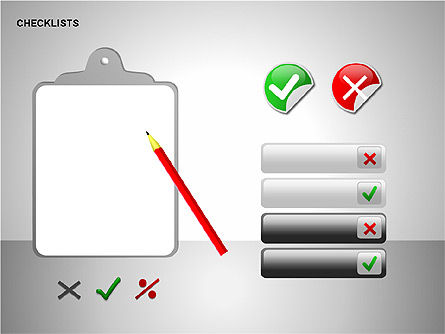 Checklist with Stickers  Collection, Slide 15, 00175, Shapes — PoweredTemplate.com
