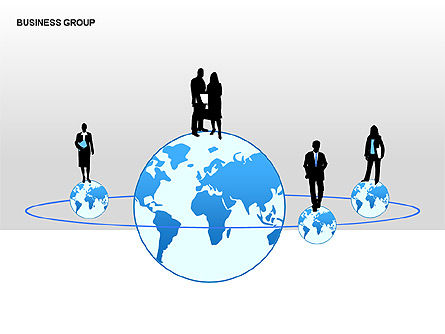 World Business Group Diagrams, Slide 4, 00182, Shapes — PoweredTemplate.com