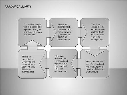 Gray Arrow Callouts, Slide 5, 00186, Shapes — PoweredTemplate.com
