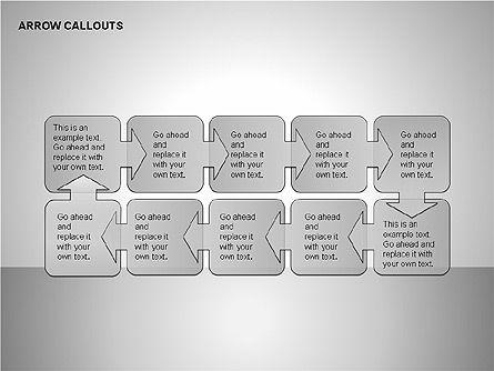 Gray Arrow Callouts, Slide 7, 00186, Shapes — PoweredTemplate.com