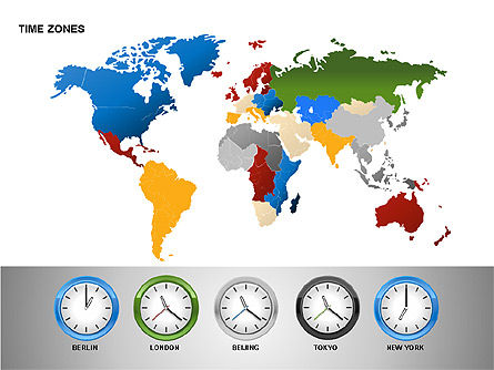 Time Zones Diagrams, 00192, Timelines & Calendars — PoweredTemplate.com