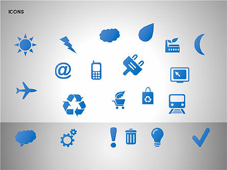Graphic Lists & Icons Collection, Slide 17, 00200, Icons — PoweredTemplate.com