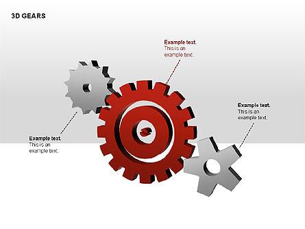 3D Gears Shapes, Slide 2, 00231, Shapes — PoweredTemplate.com
