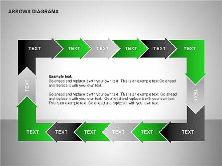 Chain Process Arrows Diagram, Slide 8, 00236, Text Boxes — PoweredTemplate.com