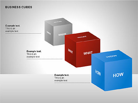 Business Cubes Diagrams, 00240, Matrix Charts — PoweredTemplate.com