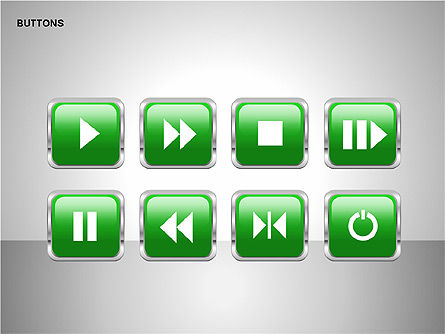 Buttons with Icons Collection, Slide 10, 00241, Icons — PoweredTemplate.com