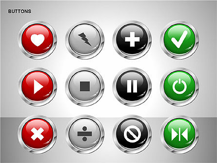 Buttons with Icons Collection, Slide 11, 00241, Icons — PoweredTemplate.com