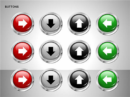 Buttons with Icons Collection, Slide 12, 00241, Icons — PoweredTemplate.com