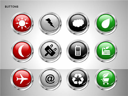 Buttons with Icons Collection, Slide 13, 00241, Icons — PoweredTemplate.com