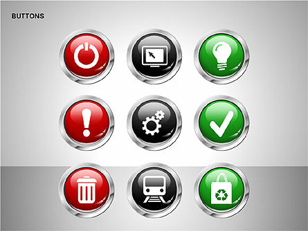 Buttons with Icons Collection, Slide 14, 00241, Icons — PoweredTemplate.com
