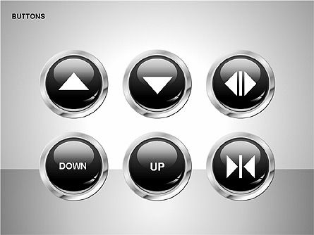 Buttons with Icons Collection, Slide 3, 00241, Icons — PoweredTemplate.com