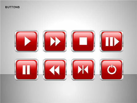 Buttons with Icons Collection, Slide 7, 00241, Icons — PoweredTemplate.com