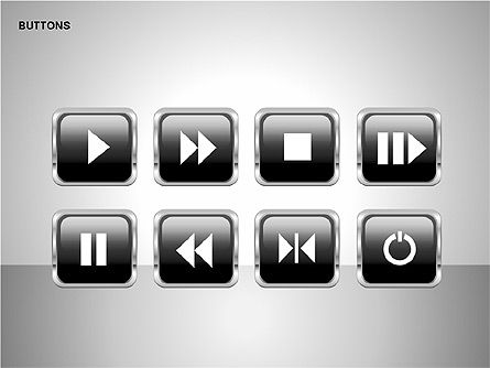 Buttons with Icons Collection, Slide 8, 00241, Icons — PoweredTemplate.com