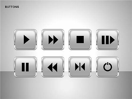 Buttons with Icons Collection, Slide 9, 00241, Icons — PoweredTemplate.com